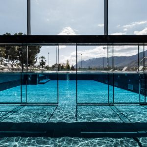 Underwater swimming pool door, Hotel Weinegg