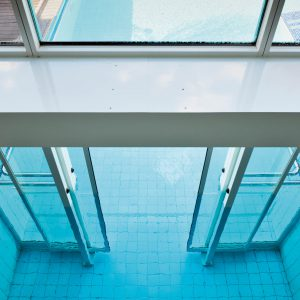 Underwater swimming pool door, Hotel Falzeben